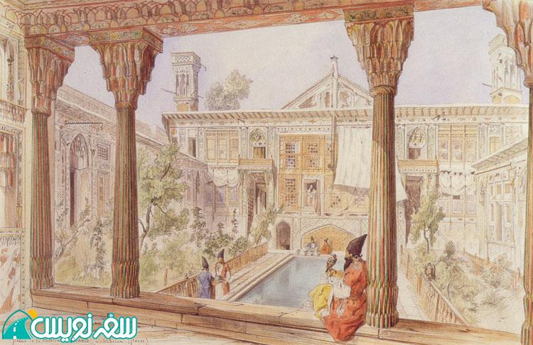 نقشی از خانه نصیرالدوله (آصف الدوله) در دوره قاجار