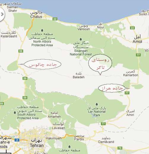 نقشه دسترسی به روستای تاکر از هراز و چالوس