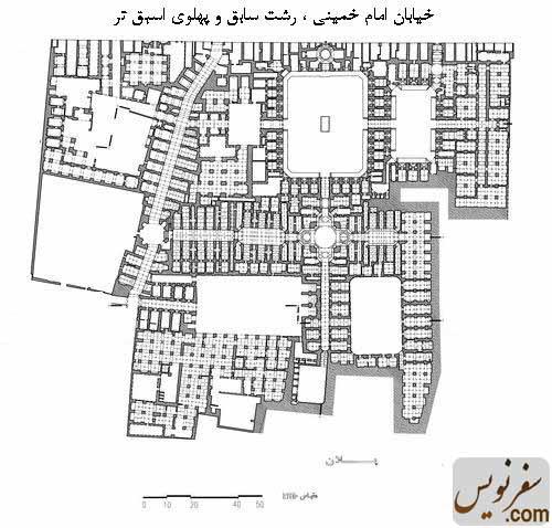 پلان و نقشه کاروانسرای سعدالسلطنه (سرای سعادت)