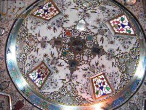 آیینه کاری و نقاشی سقف سقاخانه حضرت ابوالفضل (سقاخانه ارباب میرزا)