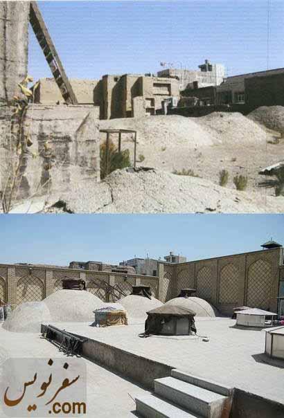 پشت بام حمام گلشن قبل و بعد از مرمت