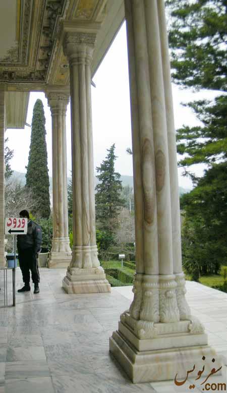 ستونهای سنگی مرمرین یکپارچه کاخ موزه رامسر