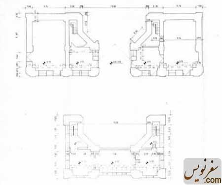 نقشه و پلان طبقه همکف و دوم سردر قورخانه تهران