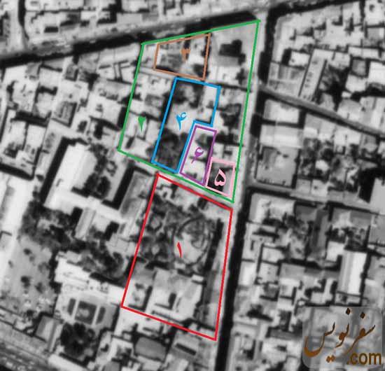 عکس هوایی مجموعه خانه پیرنیا در سال 1342