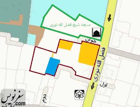 نقشه خانه شیخ فضل الله نوری