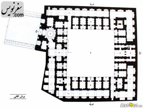 نقشه و پلان برش افقی کاروانسرای رباط کریم (حاج کمال، فتحعلیشاهی)
