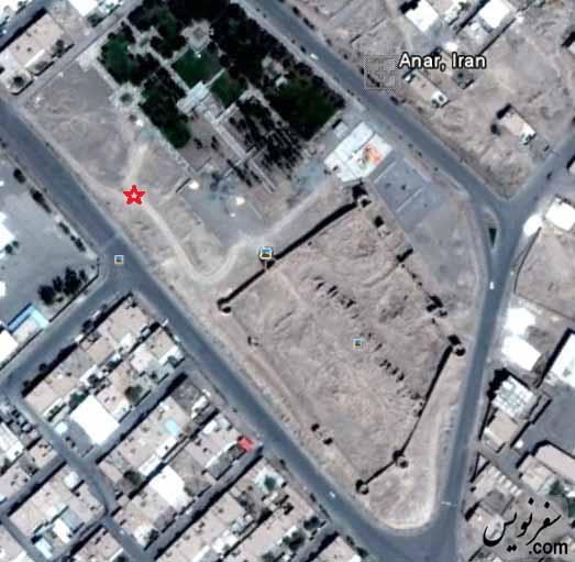 تصویر هوایی قلعه ارگ انار، شهید گمنام، فضای سبز و ...