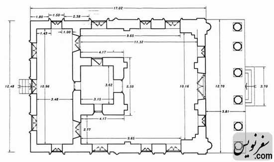 پلان و نقشه عمارت مرکزی نیایشگاه آدریان (آتشکده تهران)