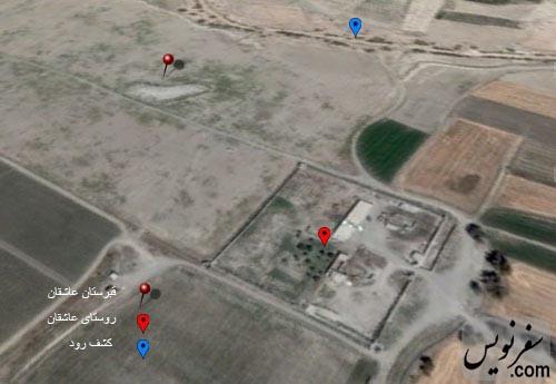 نقشه و موقعیت روستا و قبرستان عاشقان