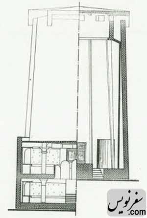مقطع AA برج آرامگاه کاشف السلطنه