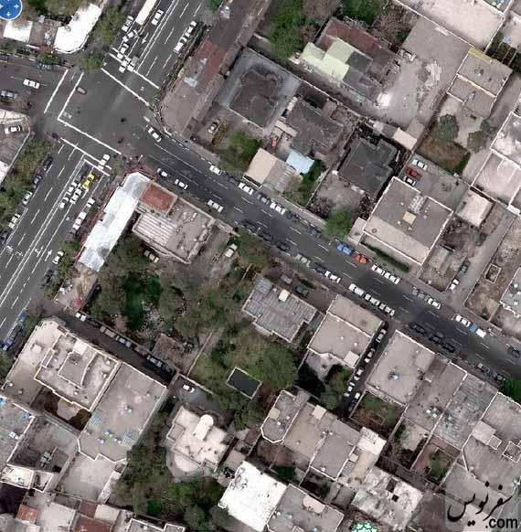 عکس هوایی خیابان حقوقی و خانه شهریار عدل در سال 1386