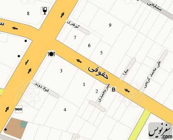 نقشه خانه شهریار عدل و خیابان حقوقی