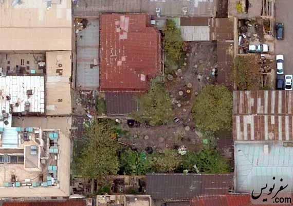 عکس هوایی باغ تجارتخانه جهانیان تهران قبل از قطع درختان