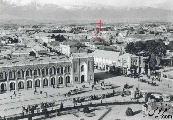 شمال شرقی میدان توپخانه و تجارتخانه جهانیان - عکس آلبوم خانه کاخ گلستان