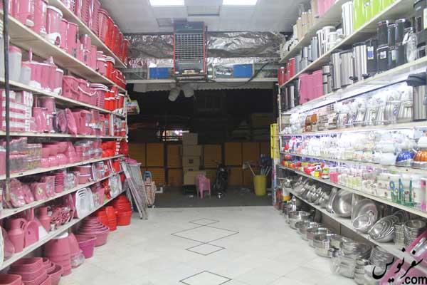 نمایی از محوطه اسکلت از درون یکی از مغازه ها