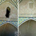 سرقت کتیبه قاجاری آب انبار حاج عبدالباقی نراق - منبع عکس سلحشوران