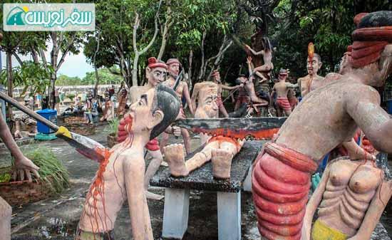 گنهکاران در جهنم تایلند و بریدن بدنشان با اره