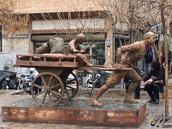 مجسمه مرد باربر قبل از سرقت