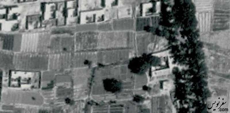 عکس هوایی زمین آرامگاه سپهبد امیراحمدی قبل از ساخت در سال 1340