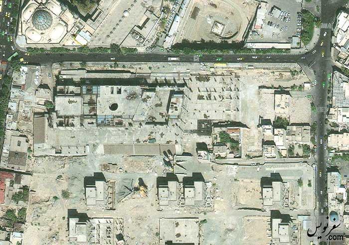 عکس هوایی جنوب میدان بهارستان بعد از تخریب