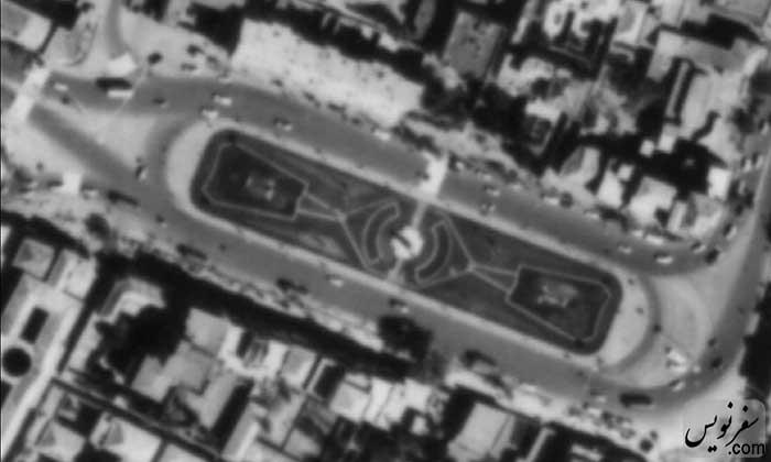 عکس هوایی میدان بهارستان در سال 1344