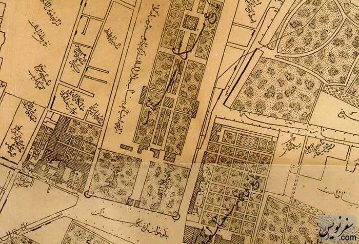 نقشه جلوخان باغ نگارستان (میدان بهارستان)