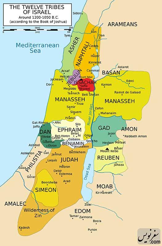 نقشه اقوام بنی اسرائیل و منطقه گیلعاد