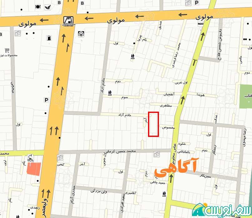 نقشه موقعیت مکانی خانه محمد فرخزاد عراقی پدر فورغ فرخ زاد