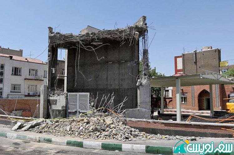تخریب هواکش مترو در حریم پمپ بنزین تاریخی دروازه دولت