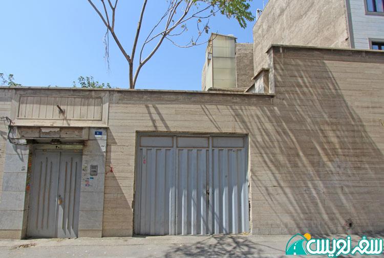 تخریب جداره اصلی و نصب درب پارکینگ و پوشاندن جداره توسط ینگ مرمر