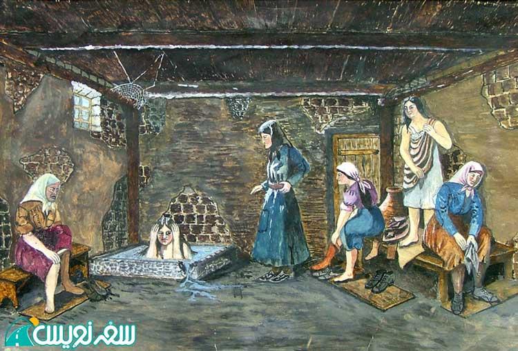 نقاشی از یک میقوره (حمام) یهودی اثر شالوم کوبوشویلی Shalom Koboshvili