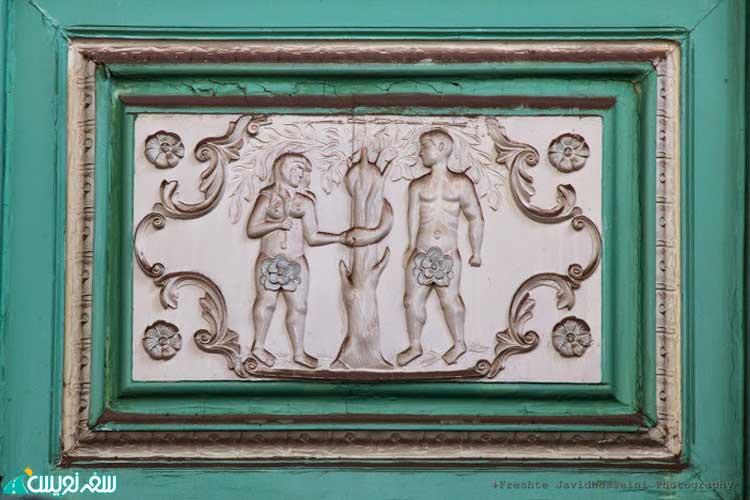 تابلوی منبت کاری سرقت شده از داستان آدم و حوا (عکس فرشته جاوید)