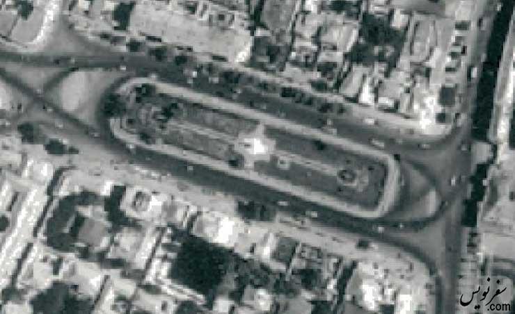 عکس هوایی میدان بهارستان در سال 1335 بدون حوض