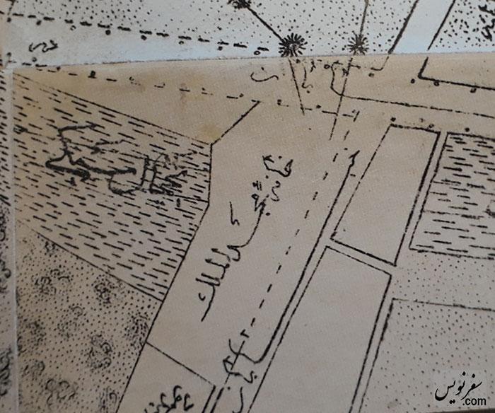نقشه خانه میرزاتقی خان مجدالملک در روی نقشه عبدالغفار