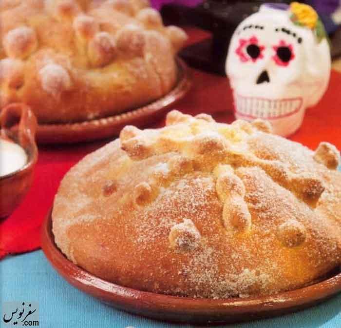 شیرینی نان مرده Pan de muerto در روز مردگان