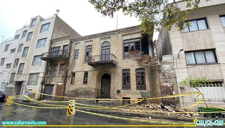 فروریختن بخش از جداره خانه منوچهری، عکس صفحه تهران قدیم