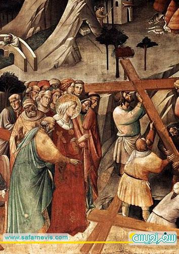 زمان پیدا شدن صلیب مقدس توسط مادر هلنا- نقاشی آنجلو گادی