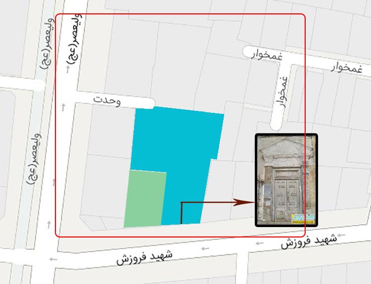 نقشه خانه های سرلشگر ضرابی و سیداحمد غمخوار در املاک آقامیرزا محمد ناظر