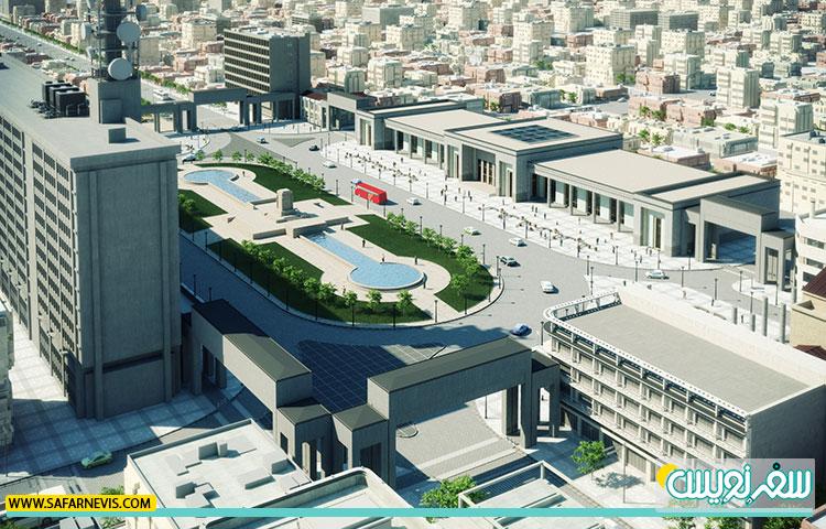 طرح پیشنهادی بهسازی میدان امام خمینی که خبری از جداره سیاه دور حوض نیست