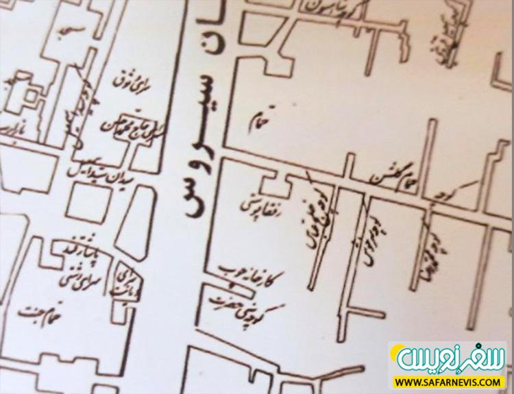 نقشه تهران در سال 1347 و کوچه صنیع حضرت