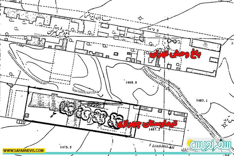 نقشه تیمارستان چهرازی و باغ وحش تهران